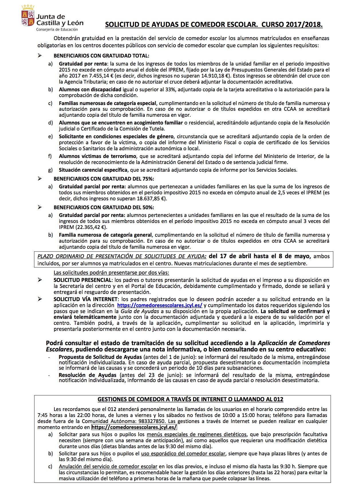 Comedores Escolares Jcyl | Ceip Pedro Aragoneses Alonso